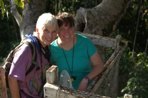 Mary Ann and Betsy enjoy being on a platform on the Canopy Walkway
