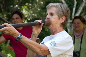 Rosemary Klein trying out a blowgun