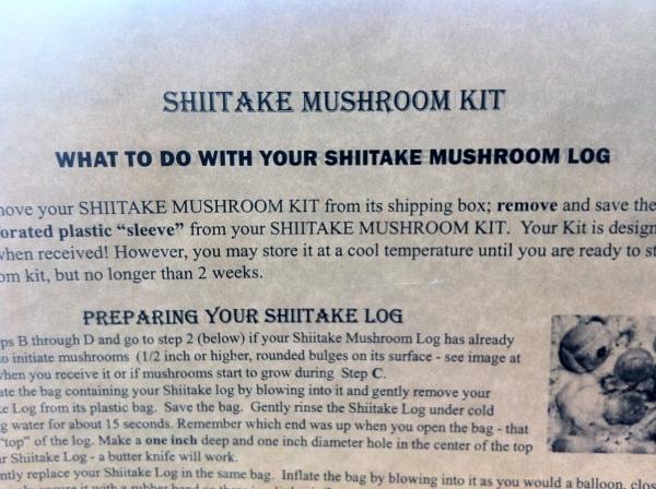 instruction sheet for shiitake mushroom log kit