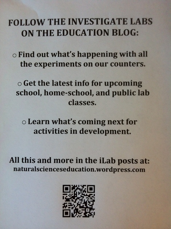 sign advertising our museum education blog and its QR code