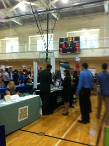 A shot of the intern fair in the gym
