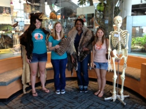 Summer interns (L to R) Rose Stroup, Samantha Dietz, Melana Horton and Tess Allen (Mr. Bones is standing in for missing intern Jessica Yelverton)