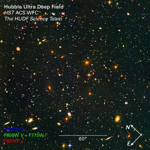 Hubble Ultra Deep Field. Credit: NASA, ESA, R. Windhorst (Arizona State University), and H. Yan (Spitzer Science Center, Caltech).