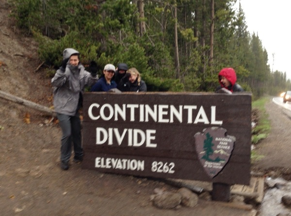 The huge rainstorm hit just in time for our photo at the Continental Divide.