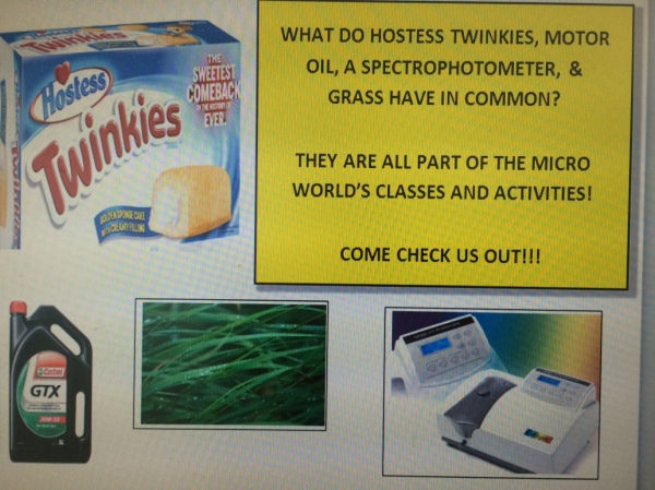 Micro lab classroom sign with motor oil, Twinkies, grass, and spectrophotometer