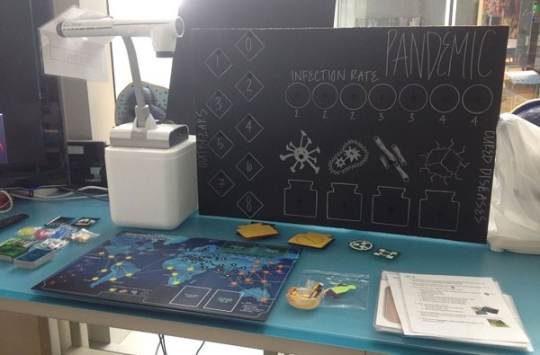 Pandemic Game Board and and enlarged top of board section
