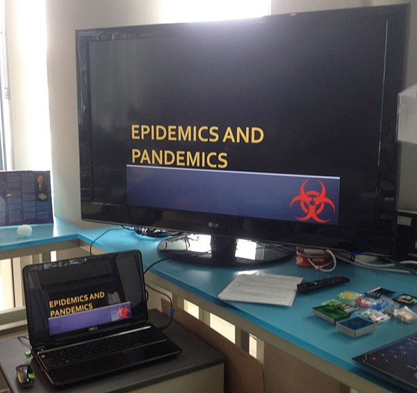 Pandemic Class presentation on TV screen