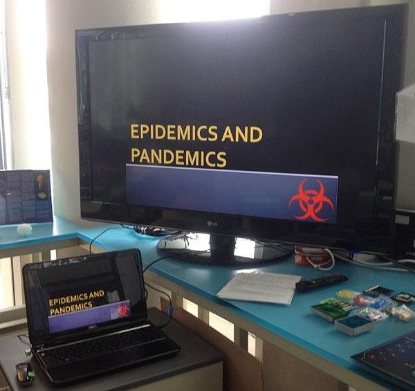 Pandemic Class presentation on TV screen