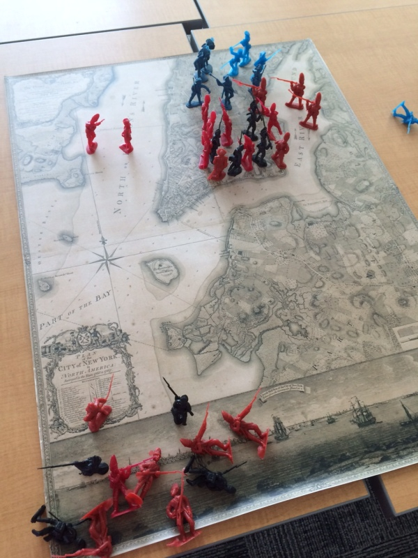 Plastic soldiers on the Ratzer Map of 1770 showing the progression of the Battle of New York