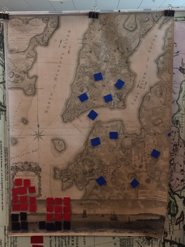 Spy Chem of the American Revolution Ratzer map reproduction showing the Battle of New York