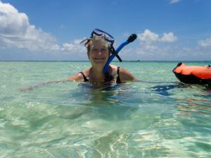 Liz snorkeling