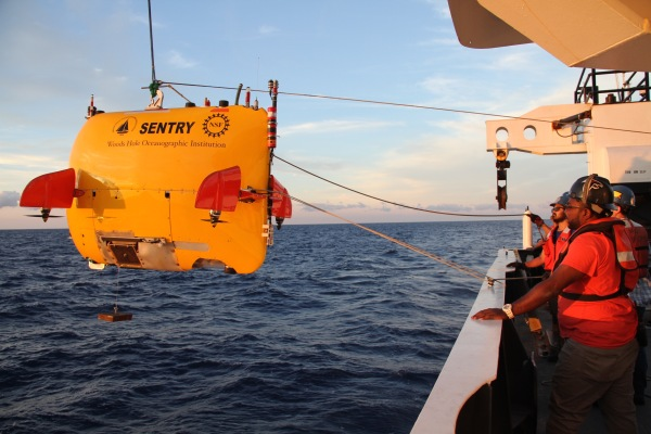 Launch of AUV Sentry in the evening. Photo credit: Liz Baird.