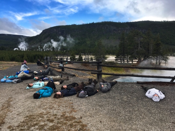 JCs waiting to feel the small hydrothermal explosions from Black Sand Pool